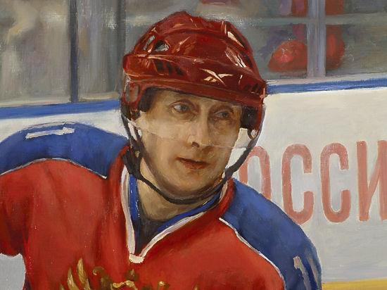Легендарные хоккеисты приготовили Путину в подарок его портрет на коньках