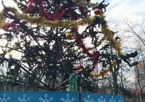 Необычной елкой удивила центральная площадь жителей микрорайона Заря Балашихинского городского округа