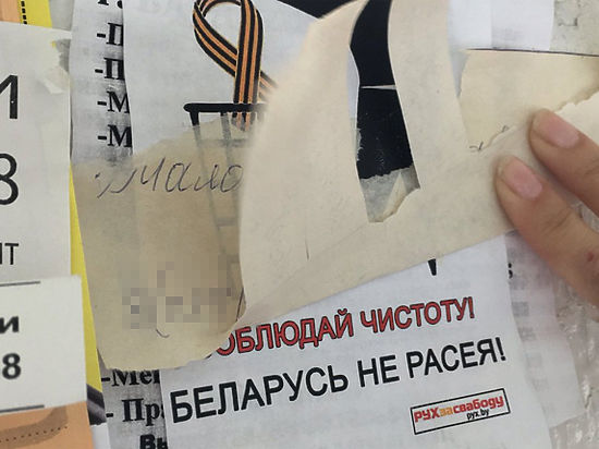 На листовках символику выбрасывают в корзину