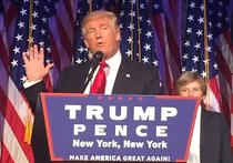 В сопровождении членов семьи и ближайших сторонников Дональд Трамп появился перед публикой под звуки музыки из фильма Air Force One (в российском прокате – «Самолет президента»)