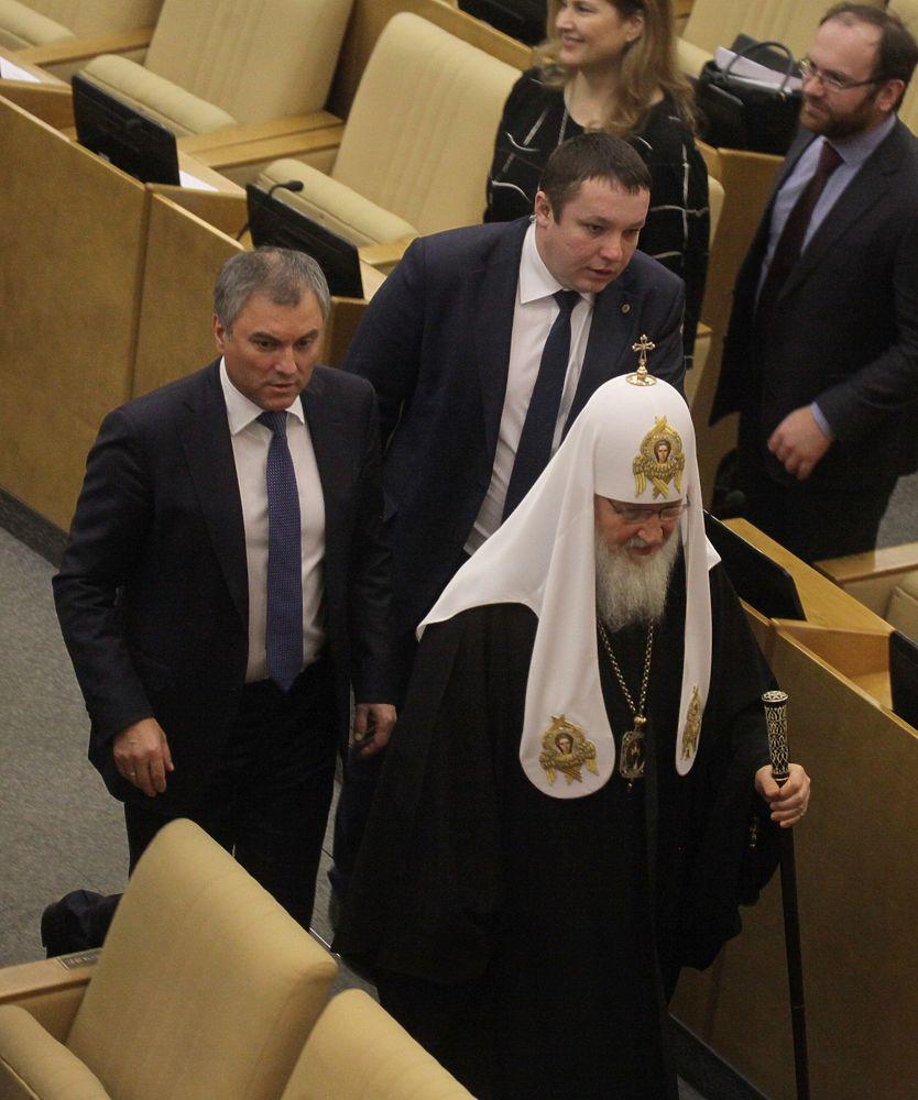 Володин пообещал патриарху Кириллу, что Госдума постарается узаконить его идеи