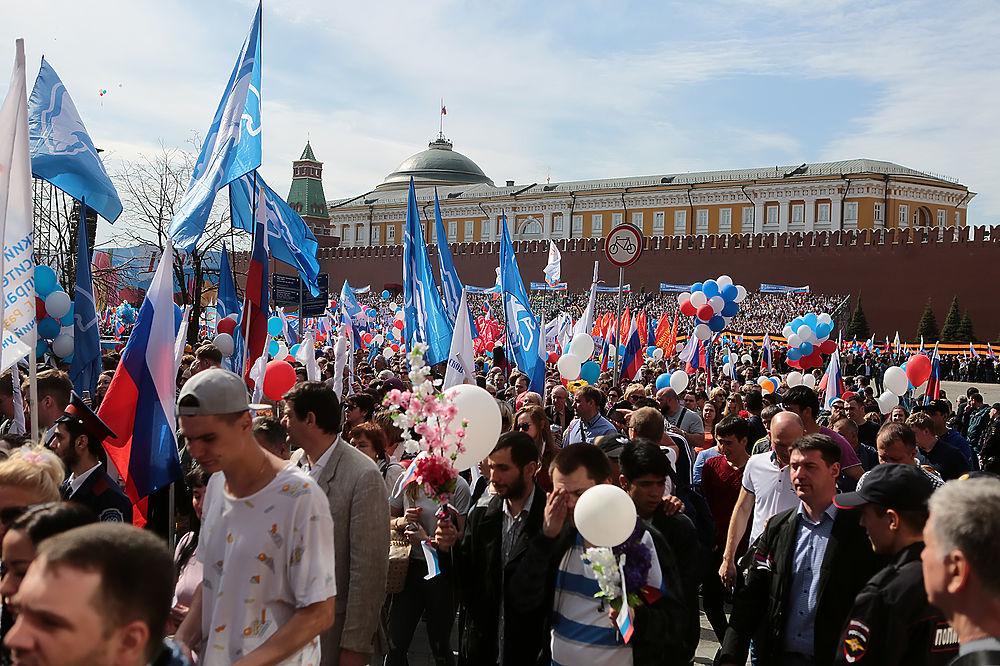 На Красной площади прошла многотысячная первомайская демонстрация