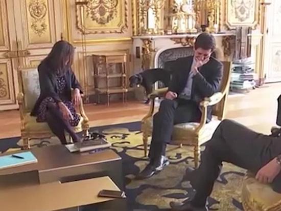 Собака Макрона справила нужду во время рабочего совещания