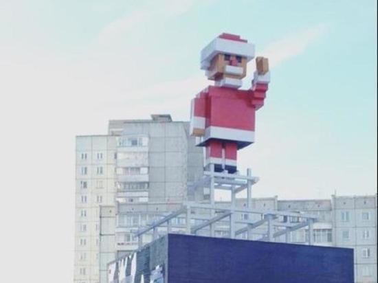 В Красноярске пиксельный вождь преобразился в Деда Мороза