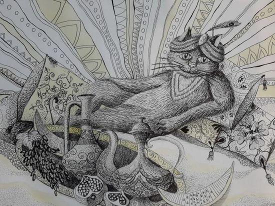 Картина с котиком юной художницы из Невинномысска экспонируется в Эрмитаже