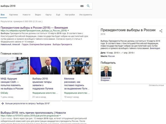 Google досрочно назвал Путина победителем выборов - 2018