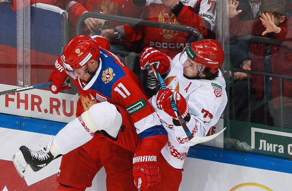 Хоккейная сборная России обыграла Белоруссию в Москве перед Олимпиадой: фоторепортаж