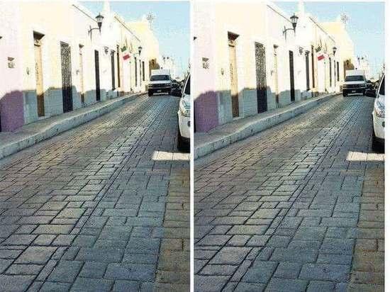 Две фотографии одной и той же дороги на ней можно принять за развилку