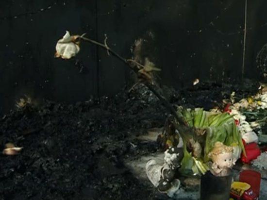 В Благовещенске сгорел мемориал памяти жертв пожара в Кемерово: видео