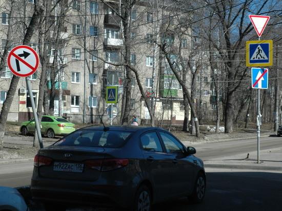 На небольшом пятачке перед магазином в Воронеже «угнездили» 20 дорожных знаков