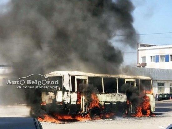 В Белгороде на ходу загорелась маршрутка с пассажирами