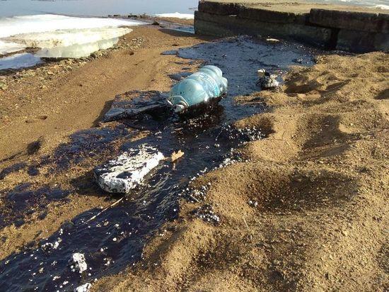 Нефть покрыла берег бухты во Владивостоке