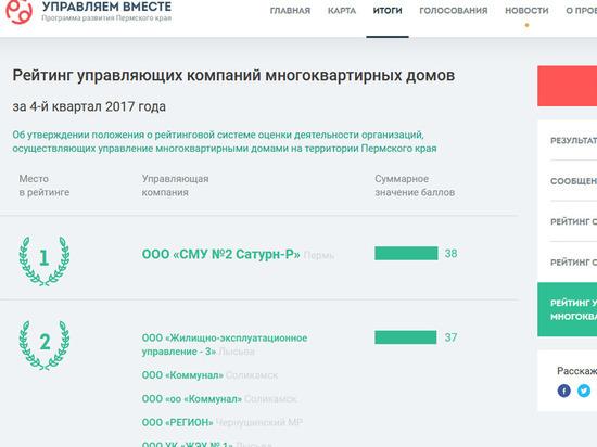 В Пермском крае обновят рейтинг управляющих организаций
