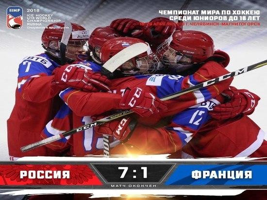 Юниорский чемпионат мира по хоккею начался с крупной победы россиян
