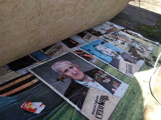 В Орле из-под батута все-таки убрали портреты ветеранов ВОВ