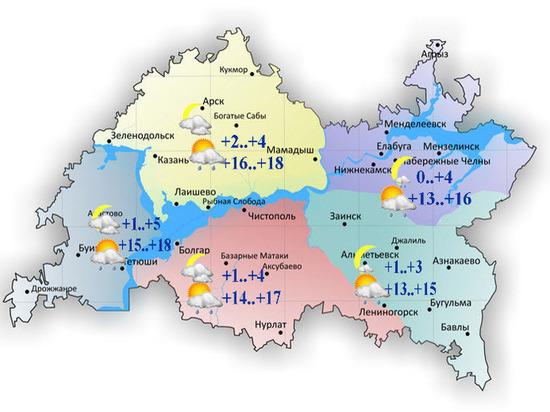 Сегодня по Татарстану ожидается небольшой дождь и порывистый ветер