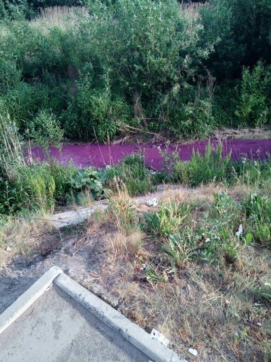 Река Мурзинка окрасилась в фиолетовый цвет