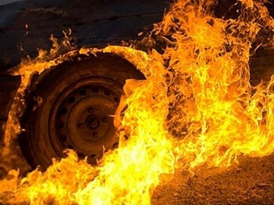 В Гае на дороге вспыхнул Mitsubishi