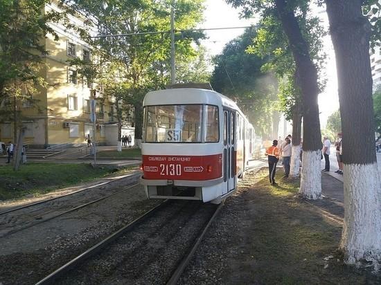 В Самаре задымился трамвай-шаттл, перевозящий болельщиков ЧМ-2018