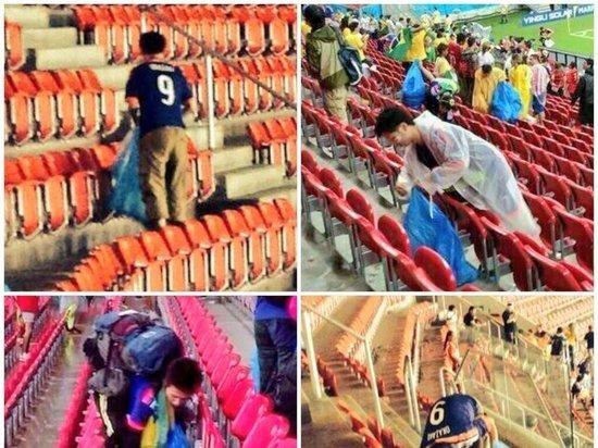 Японские болельщики убрали после матча мусор на стадионе в Саранске