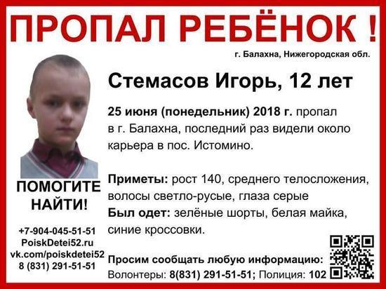 12-летний Игорь Стемасов разыскивается в Нижегородской области