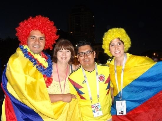 В Самаре болельщики из Колумбии всю ночь отмечали победу