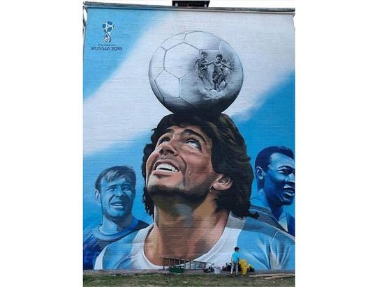 Героями граффити стали легенды футбола