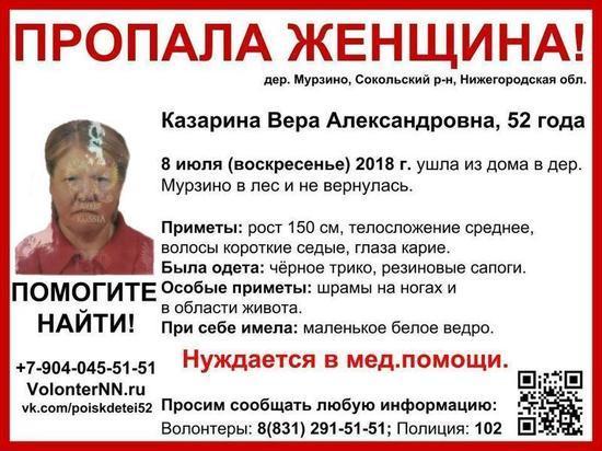 (16+) Объявлен сбор на поиск 52-летней Веры Казариной в Сокольском районе