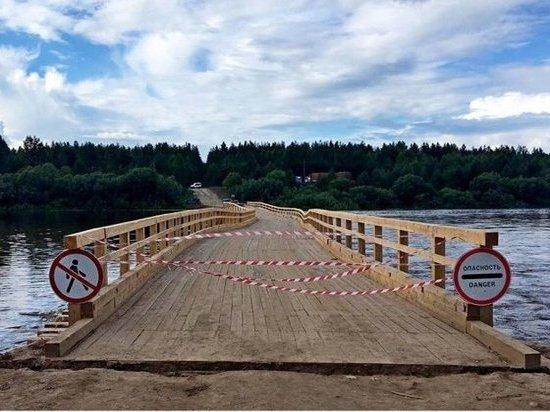 Разрушенный мост через Вагу в Вельском районе отремонтируют к концу июля