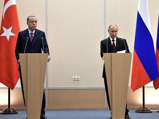 Реджеп Эрдоган иВладимир Путин договорились овстрече наполях саммита БРИКС