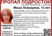 Машу Ложкареву из Нижнего Новгорода ищут по всей России