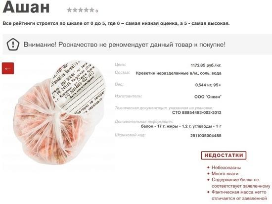 В креветках калужского производства обнаружена опасная доля мышьяка