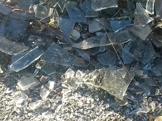 Гора битого стекла уже неделю лежит в одном из дворов Петрозаводска