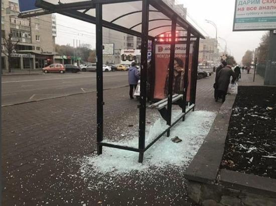В центре Тамбова мужчина средь бела дня кирпичом разбил автобусную остановку