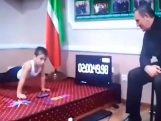 Пятилетний чеченский мальчик установил рекорд по отжиманиям в честь Кадырова
