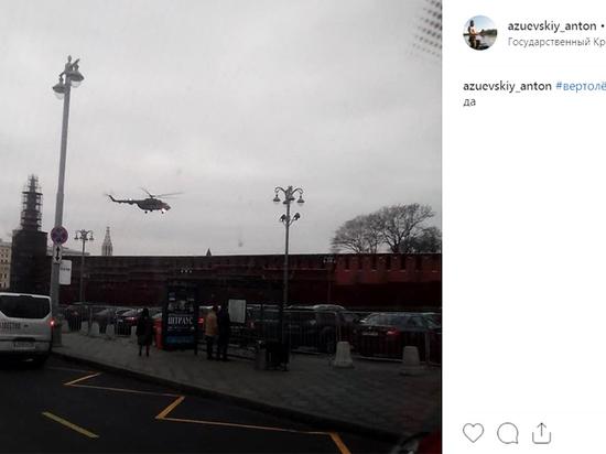 Очевидцы засняли, как военные вертолеты взлетели с территории Кремля