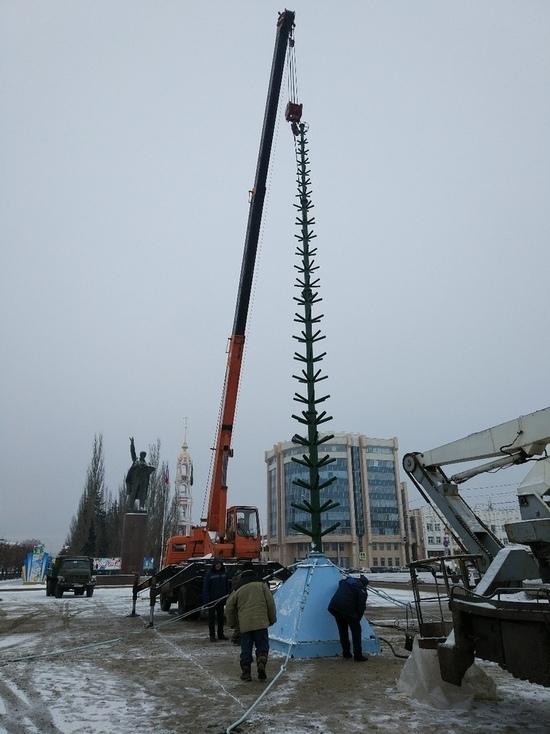 В Тамбове устанавливают главную новогоднюю ёлку