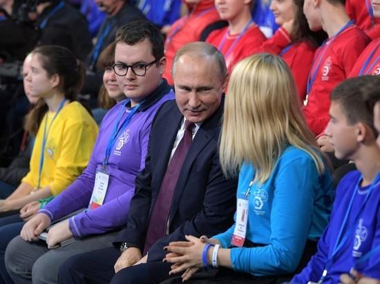 Путин спародировал Ельцина на встрече с детьми