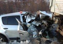 В Забайкалье автомобиль врезался в фуру, выехав на встречную полосу
