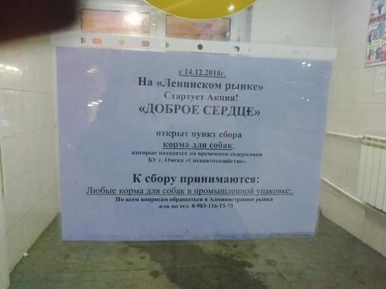На омском рынке открыли пункт сбора корма для бездомных собак