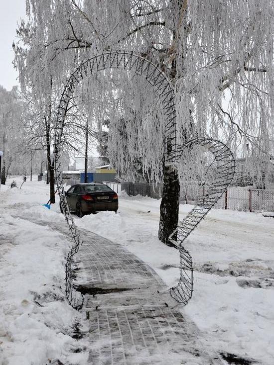 В парке Рассказово установили арки в виде варежек