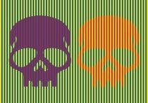 В Сети обсуждают картинку, на которой, как может показаться первоначально, изображены фиолетовый и оранжевый черепа на фоне синих и жёлтых полосок