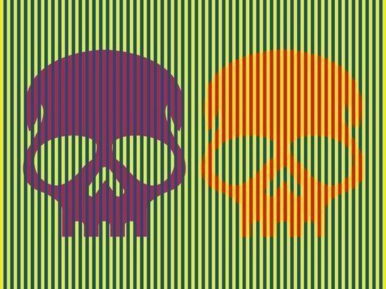 Иллюзия с фиолетовым и оранжевым черепами впечатлила интернет-пользователей