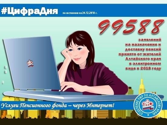 Цифра дня: 99 588 электронных заявлений подали жители Алтайского края в ПФР