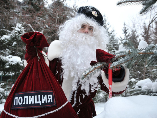 Детей Рузаенвки поздравил полицейский Дед Мороз