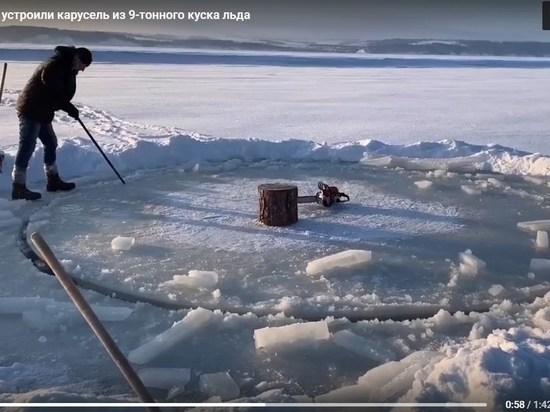 Ледовую карусель устроили на Волге под Казанью