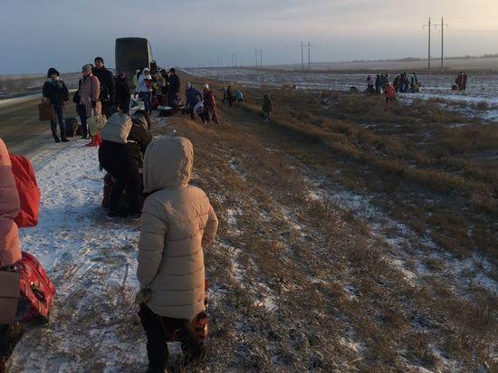 Рядом с калмыцкой столицей сгорел автобус. Пассажиров бросили замерзать