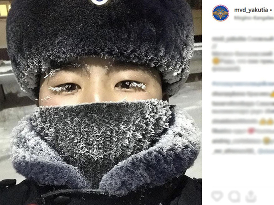 Якутские полицейские запустили флэшмоб снежных ресниц