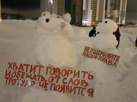 В Мурино снеговики вышли на пикет