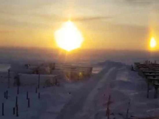 «Три солнца» над Ямалом запечатлели на видео